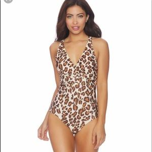 Athena criss cross one piece leopard swimsuit 14